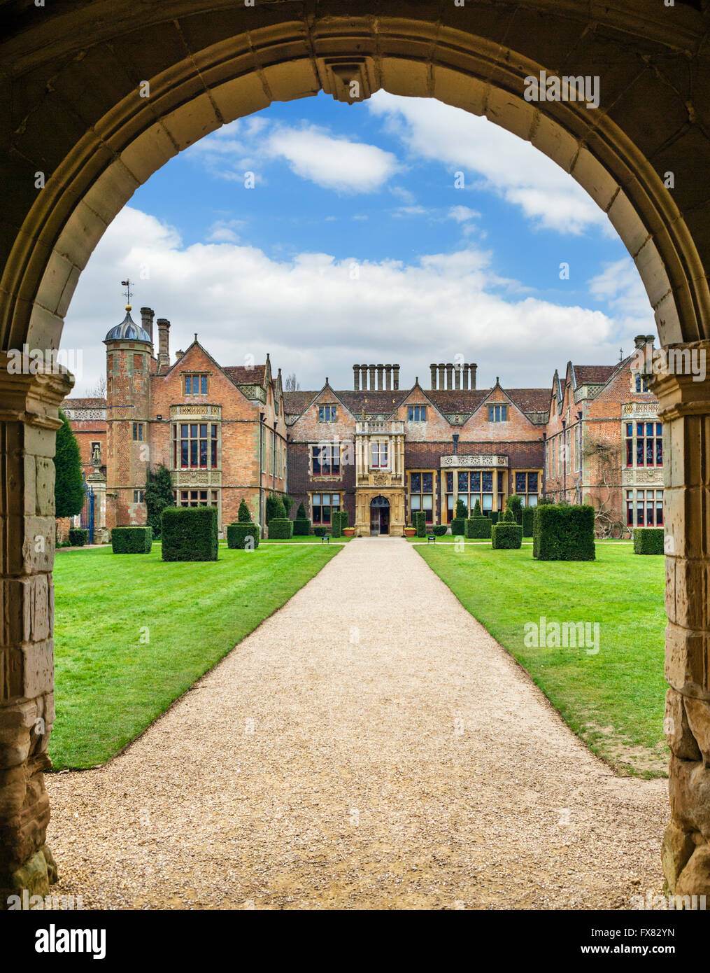 View from the gatehouse of Charlecote Park, a manor house near Stratford-upon-Avon dating from 16thC, Warwickshire, - Stock Image
