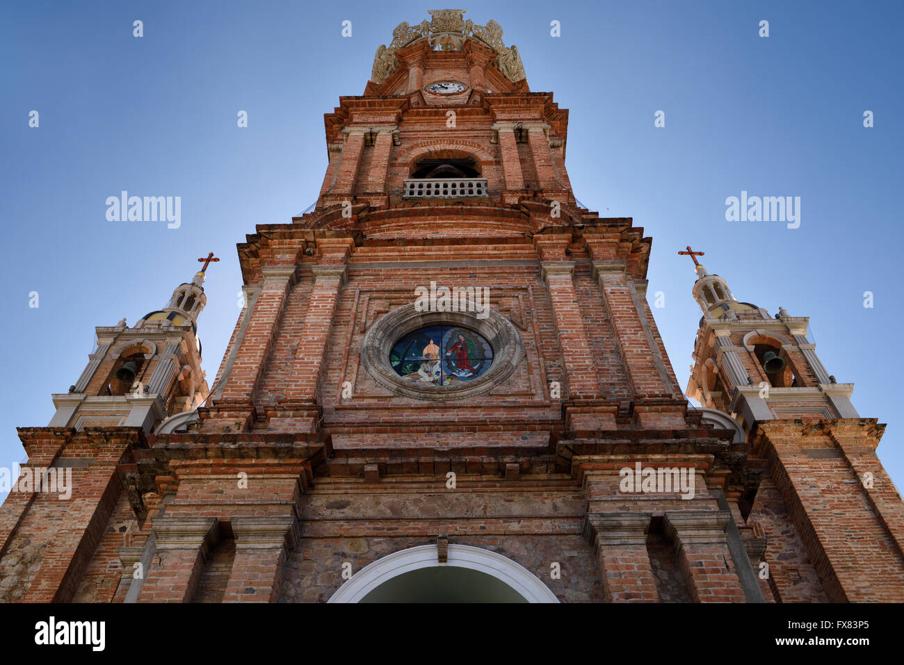 Facade of Our Lady of Guadalupe in Puerto Vallarta Mexico - Stock Image