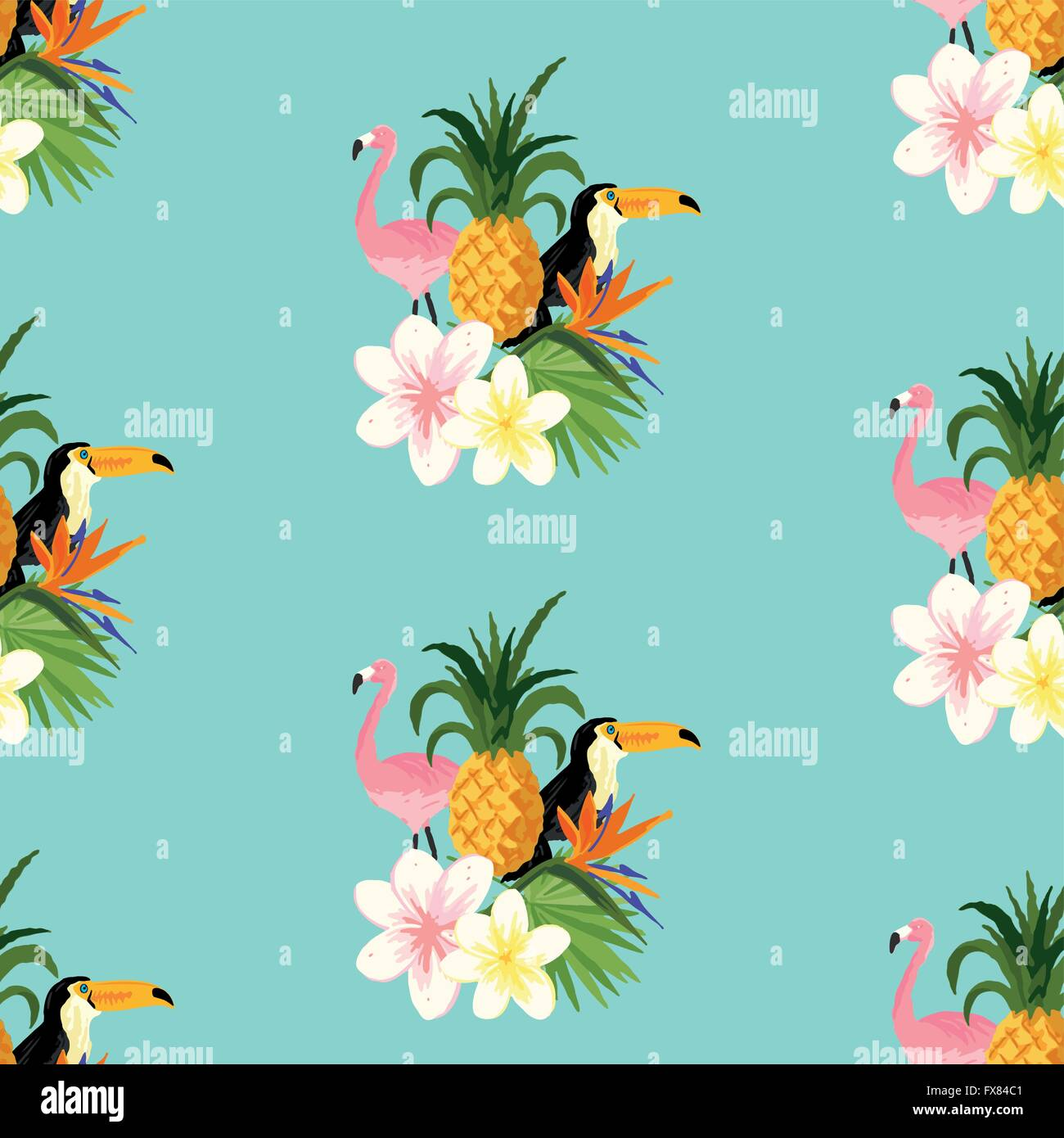Seamless Tropical Theme Background With A Toucan Flamingo And
