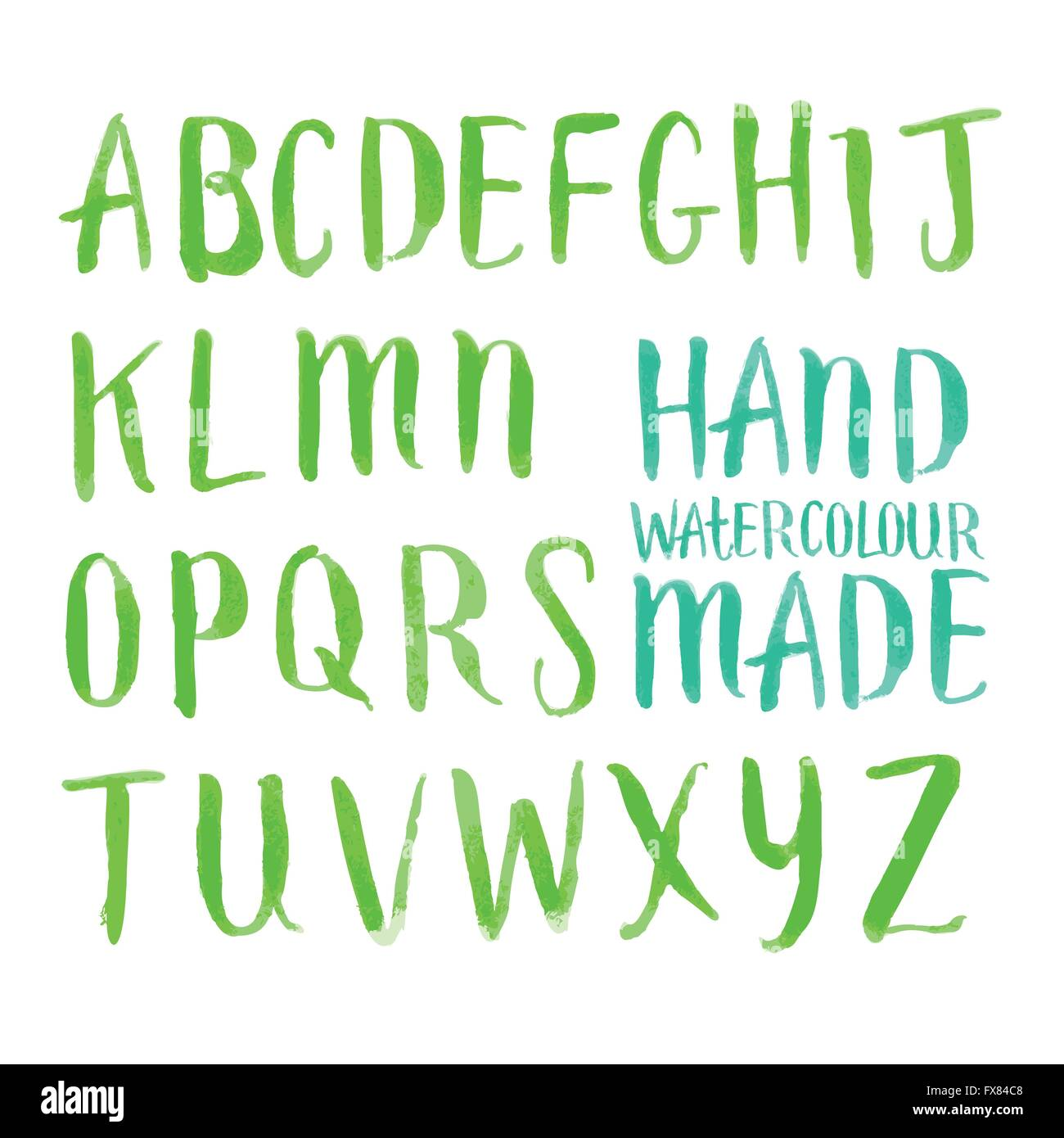 Watercolour Brush Letters. Hand made Alphabet lettering in brushed watercolour. Vector illustration. - Stock Image