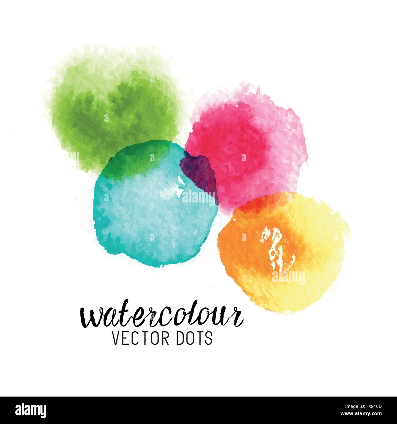 Watercolour Vector Dots. Colourful watercolour stains. Vector illustration - Stock Image