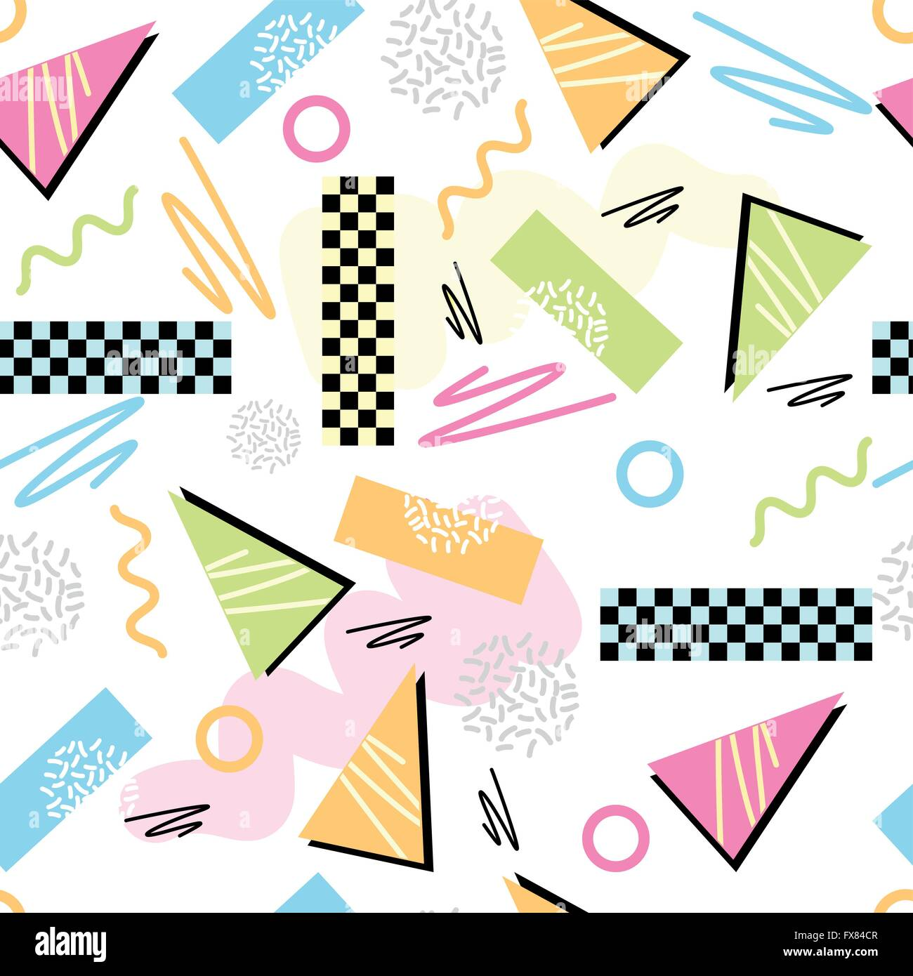 Eighties Seamless Pattern Vector. Classic light pastel 1980s seamless grid pattern. Vector illustration. - Stock Vector