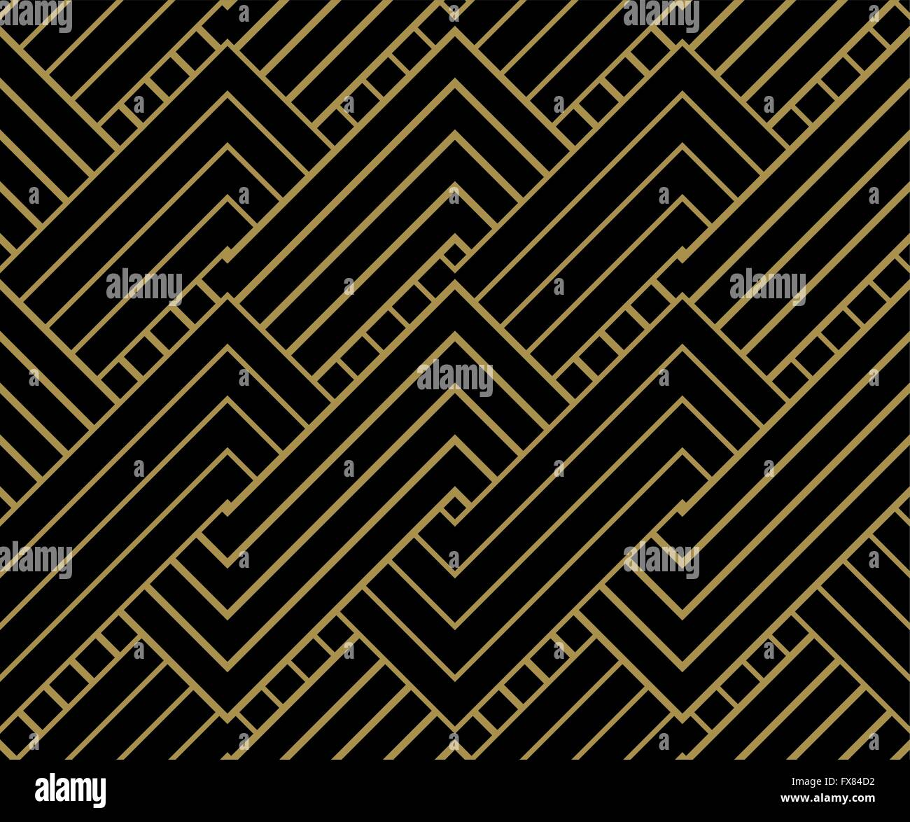 Geometric Gold shapes Background. Striped gold on black geometric pattern. Vector illustration. - Stock Image