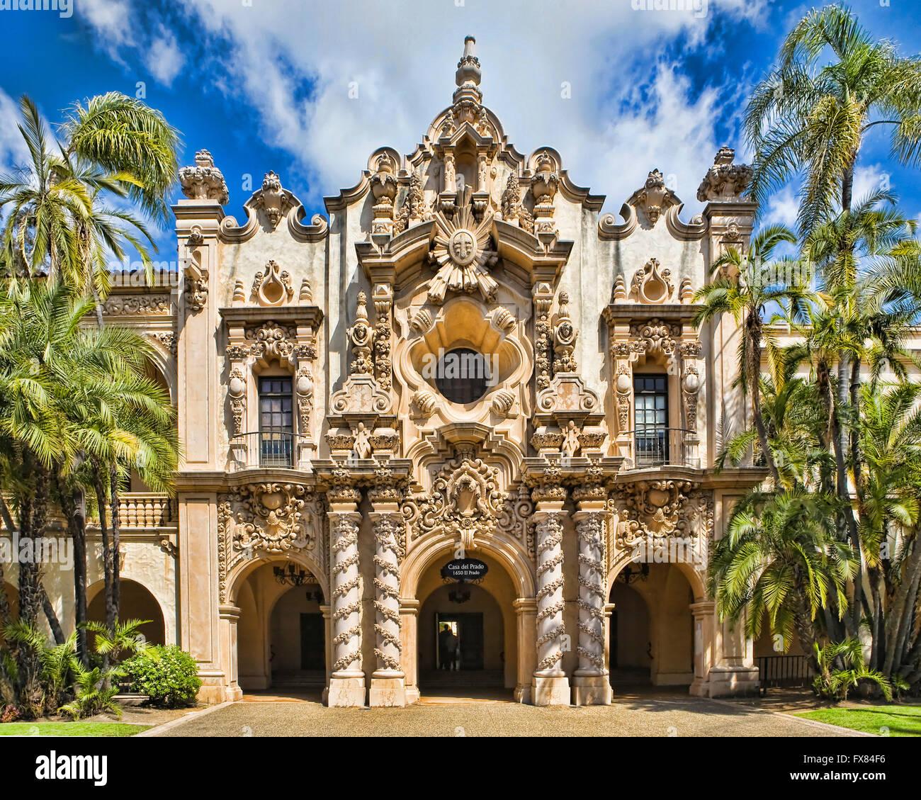 Spanish architecture Casa del Prado in Balboa Park San Diego CA