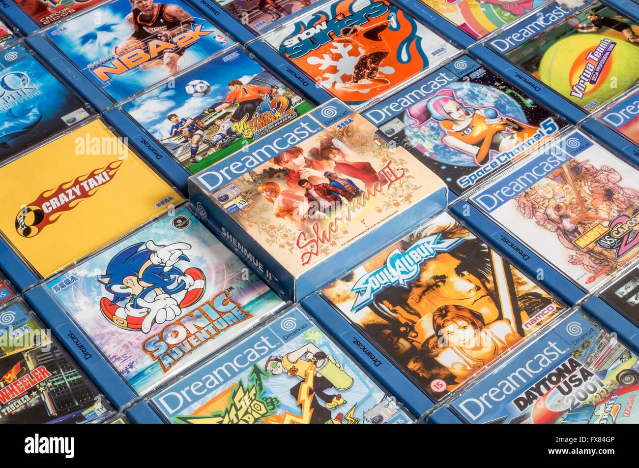 Sega Dreamcast games including Shenmue II, Sonic Adventure