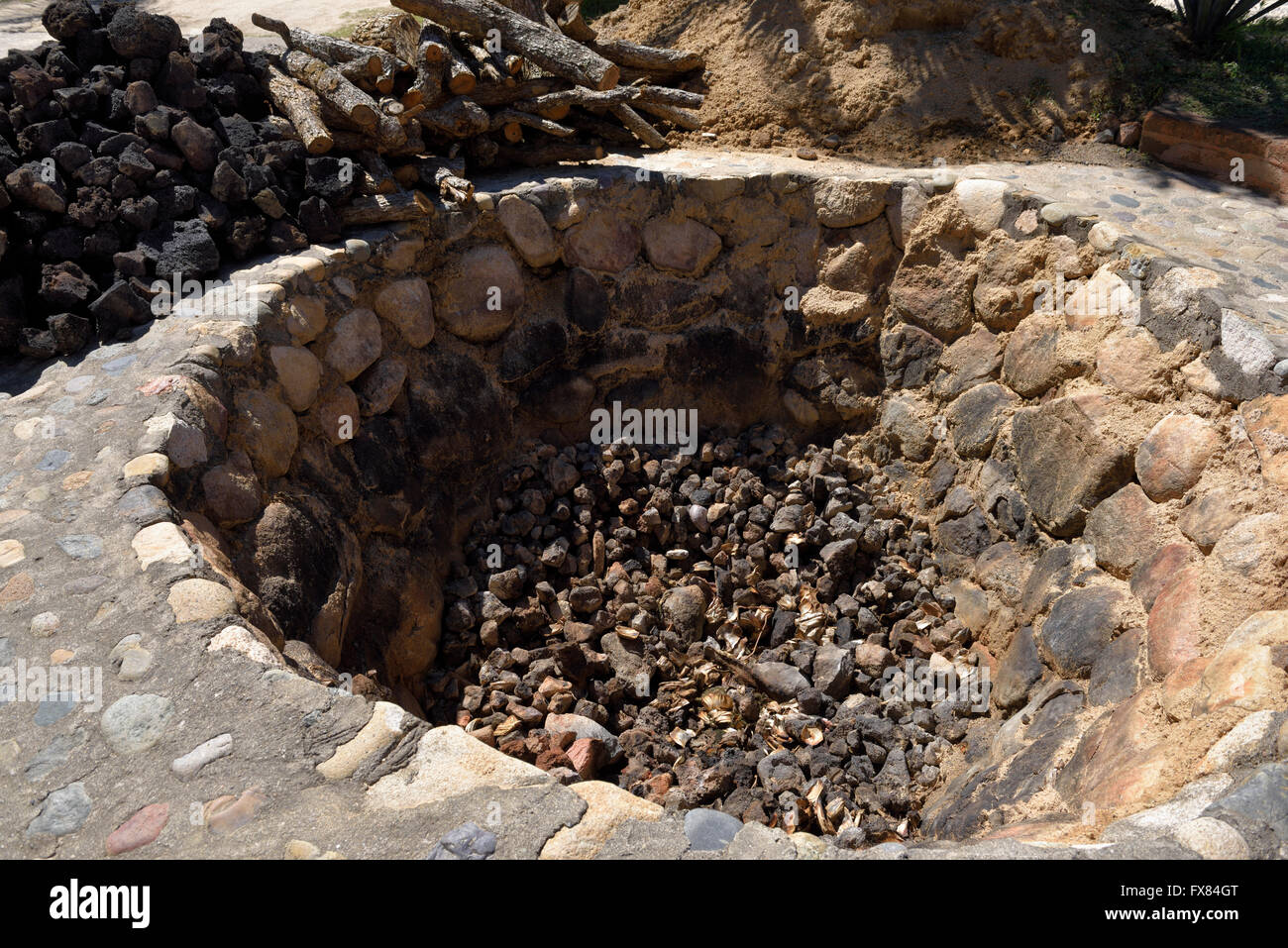 In ground oven pit for baking blue agave hearts at a Tequila factory Jalisco Mexico - Stock Image