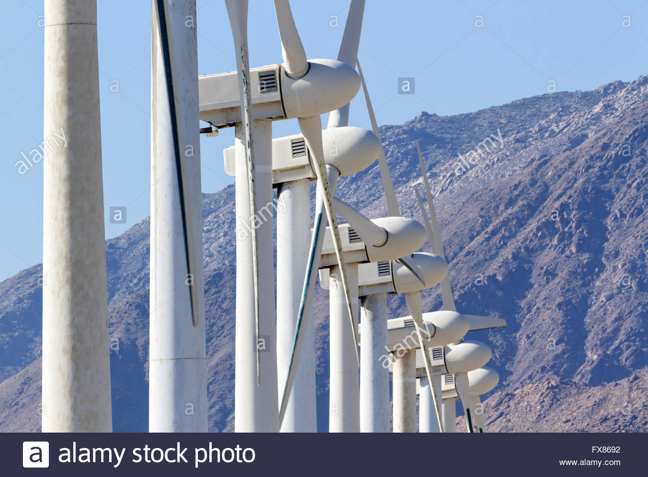 Two Bladed Wind Turbines, Palm Springs, CA - Stock Image