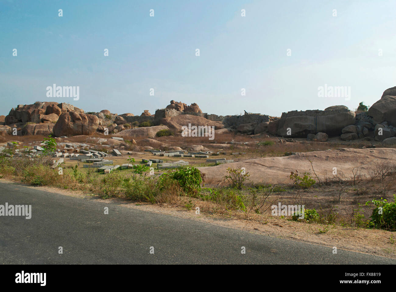 General view of Hampi ruins, Hampi, Karnataka, India. Sacred Center. - Stock Image