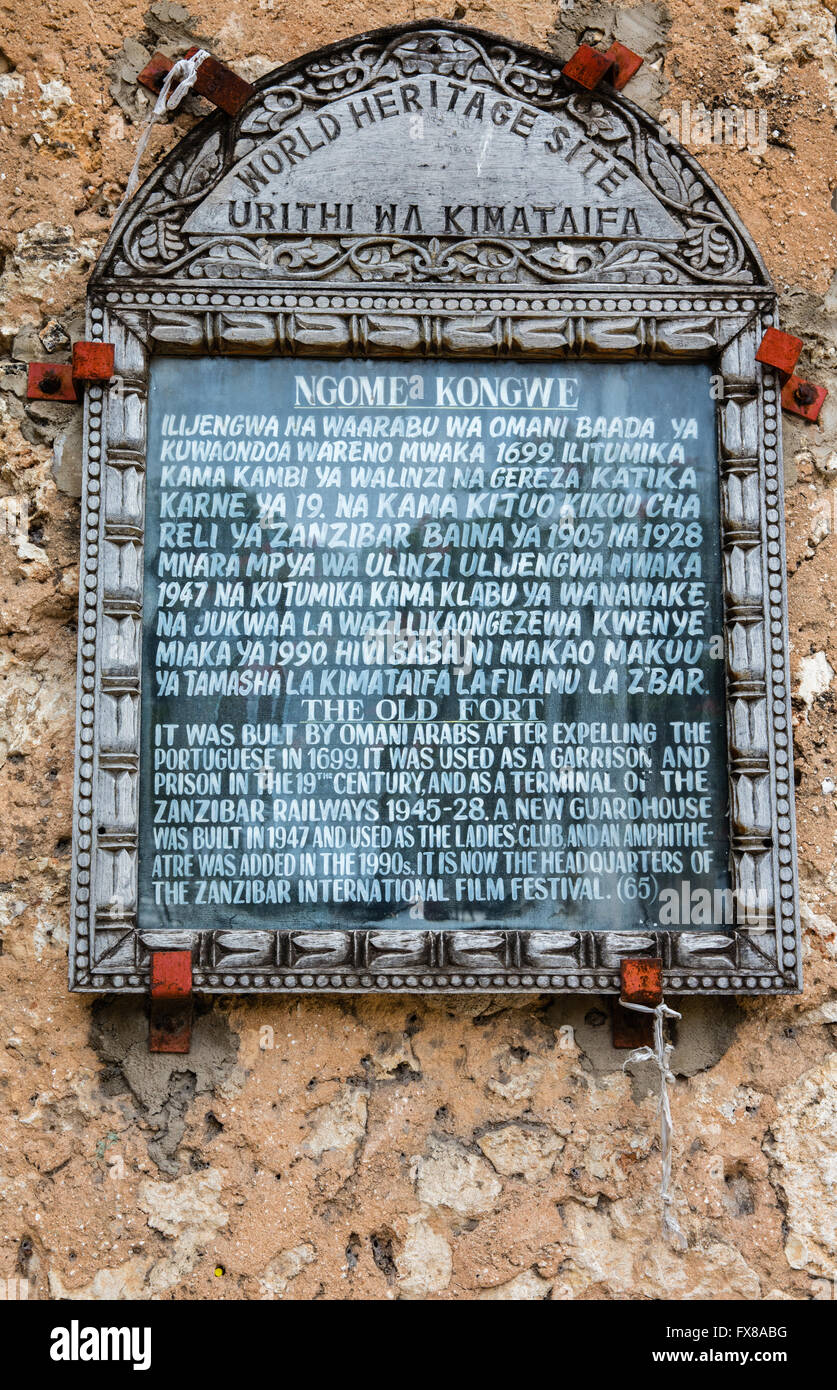 World Heritage Site plaque on the walls of the Old Arab Fort or Ngome Kongwe in Stone Town Zanzibar - East Africa - Stock Image