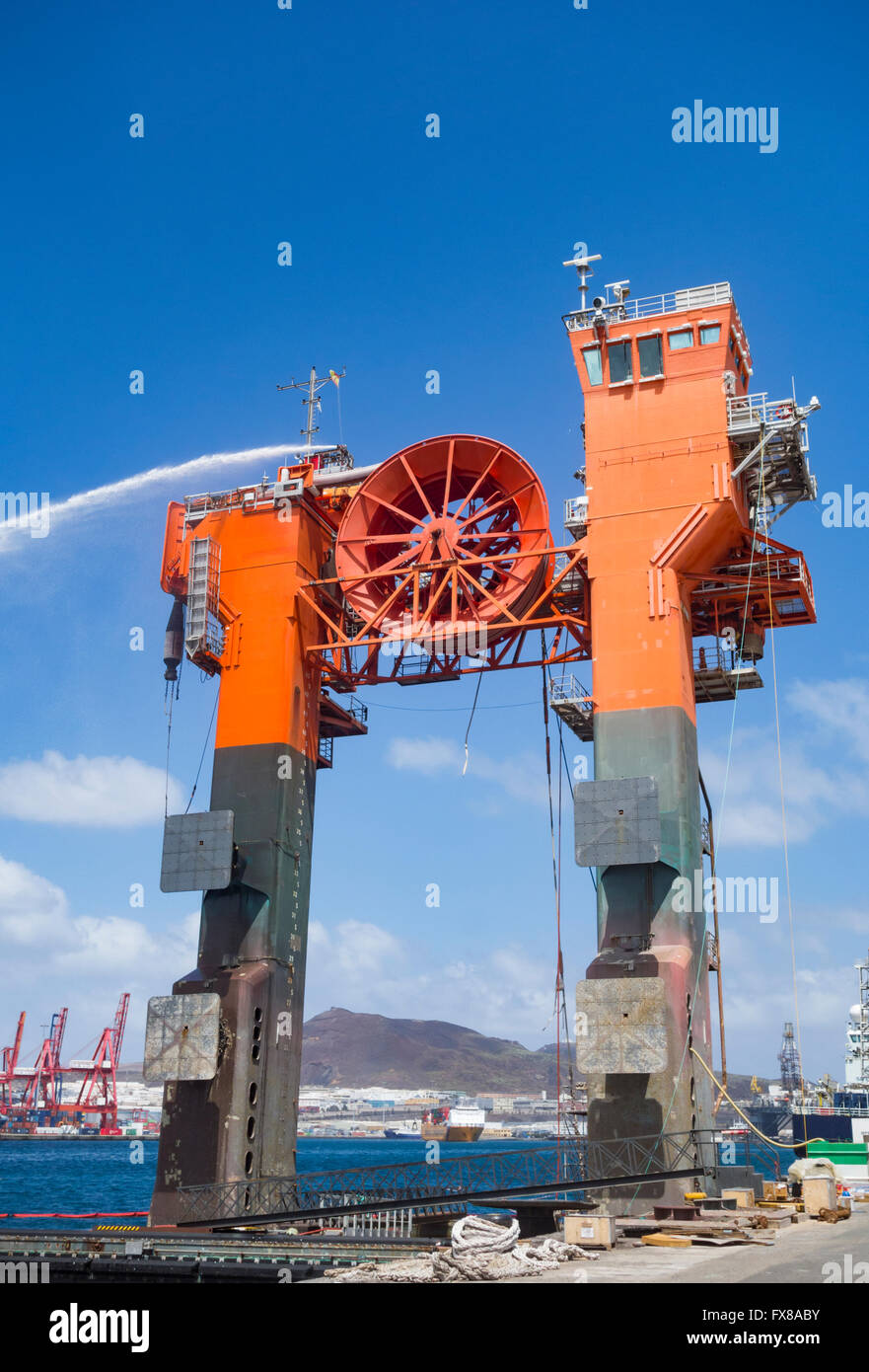 Hiload DP platform used to transfer crude products between offshore oil rigs and Tankers - Stock Image