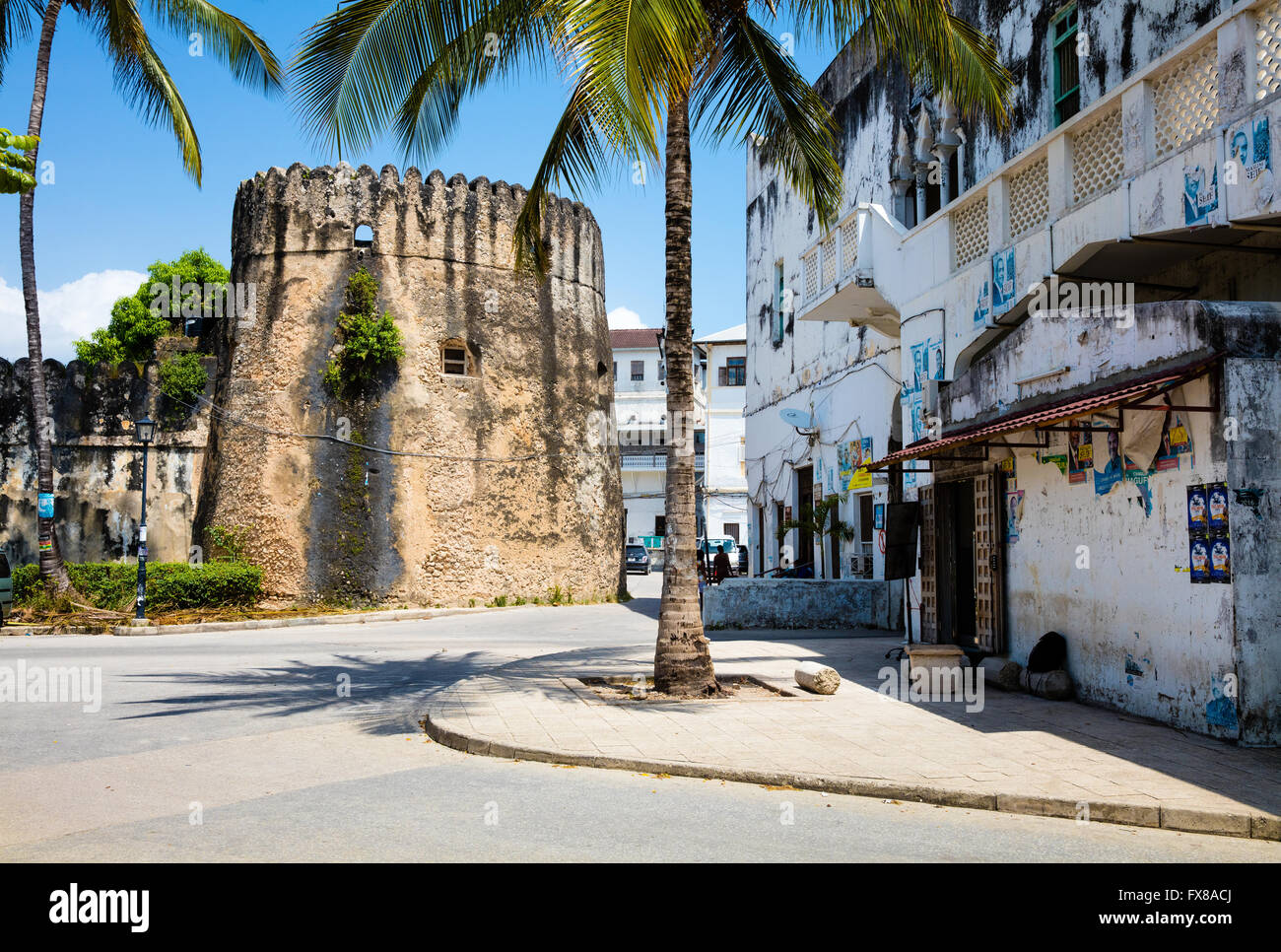 Corner tower in the walls of the Old Fort or Ngome Kongwe in Stone Town Zanzibar - Stock Image