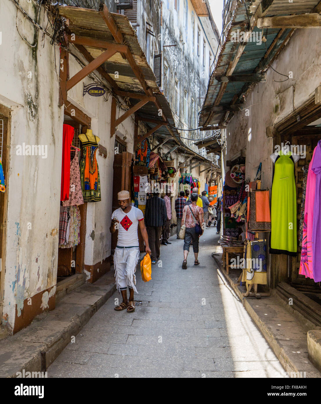 Narrow street typical of Stone Town in Zanzibar East Africa - Stock Image