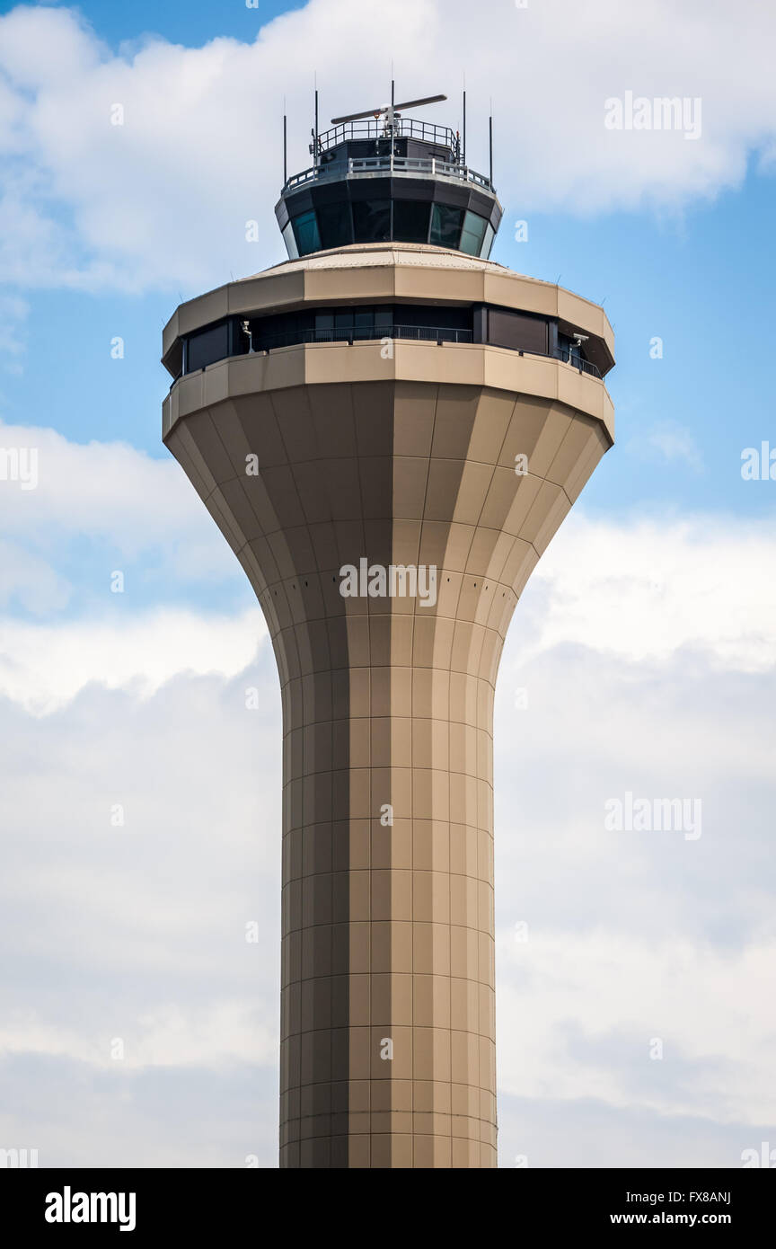Air traffic control tower at Memphis International Airport in Memphis, Tennessee, USA. - Stock Image