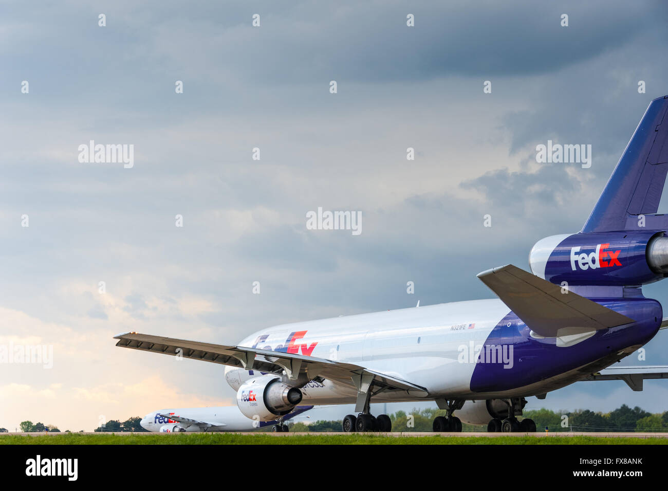 FedEx Express jets preparing for take off at Memphis International Airport, FedEx's global headquarters. USA. - Stock Image