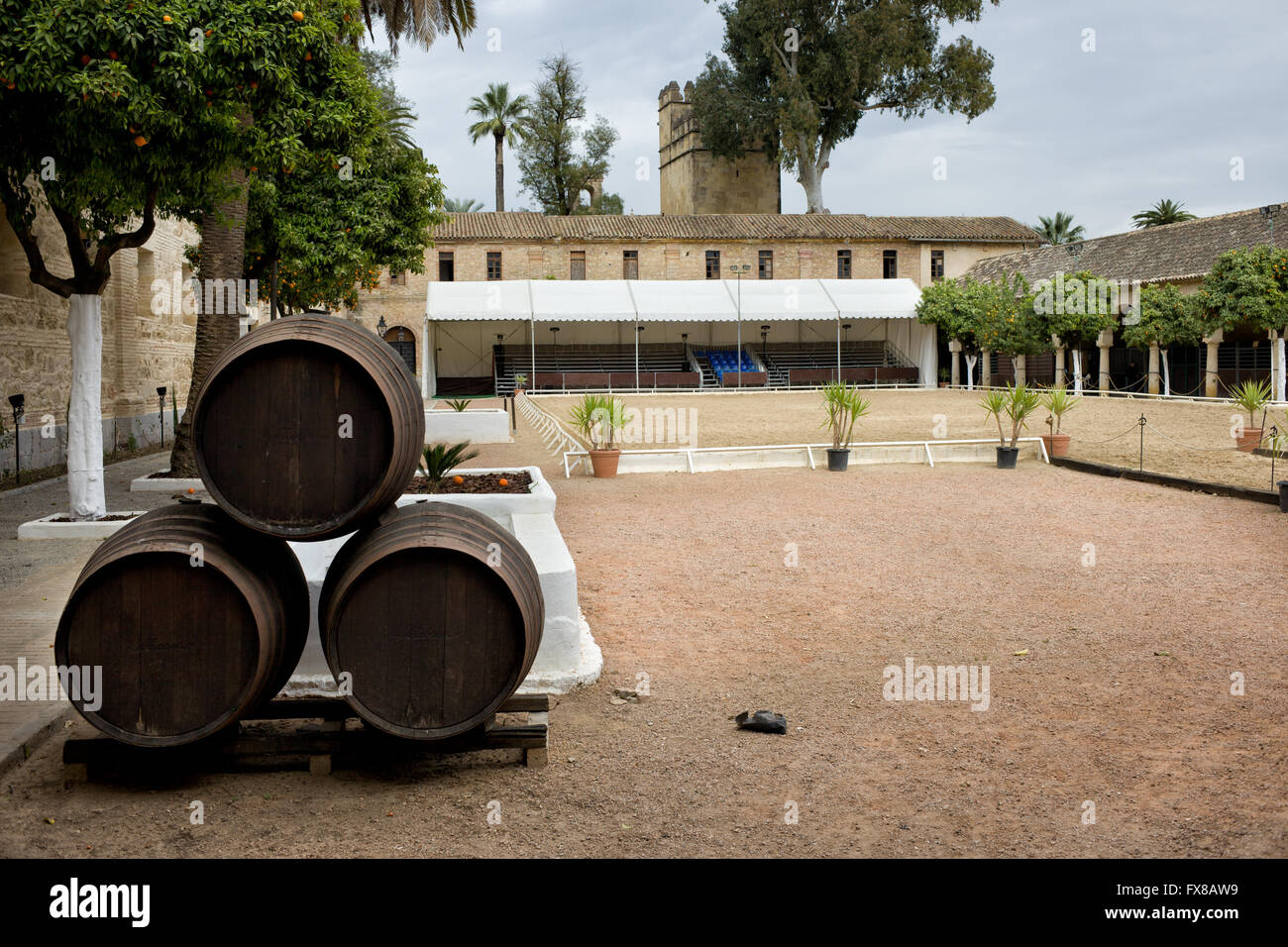 Royal Stables (Caballerizas Reales) paddock in Cordoba, Andalusia, Spain - Stock Image