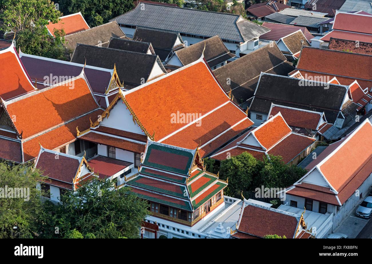 Roofs of Wat Saket Bangkok Thailand - Stock Image