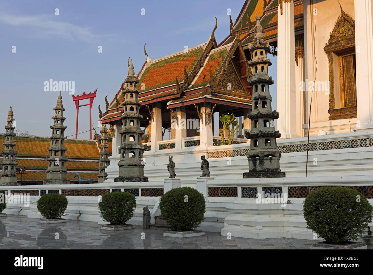 Wat Suthat and Giant Swing Bangkok Thailand - Stock Image