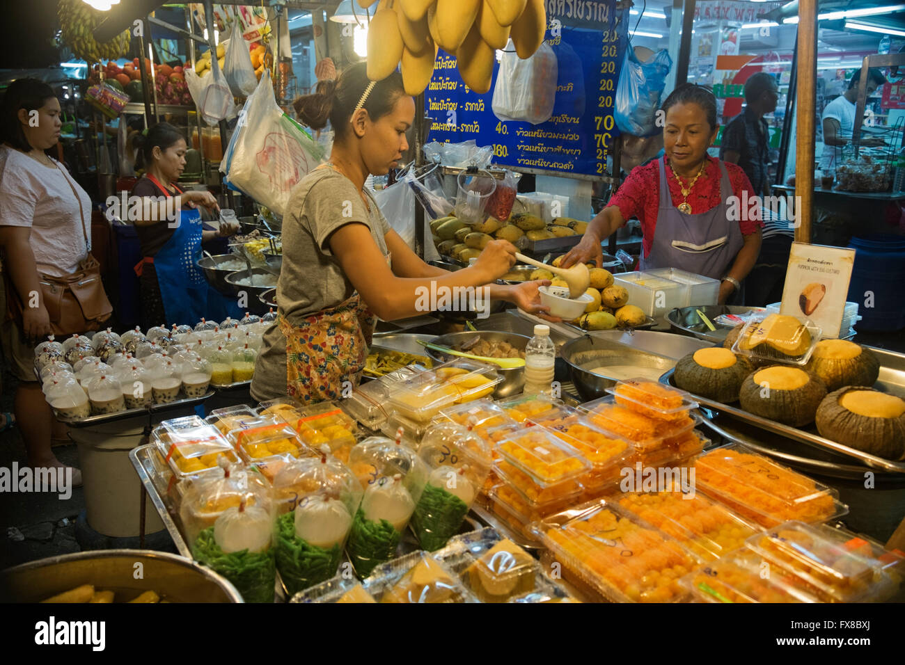 Food vendors Banglamphu Bangkok Thailand - Stock Image