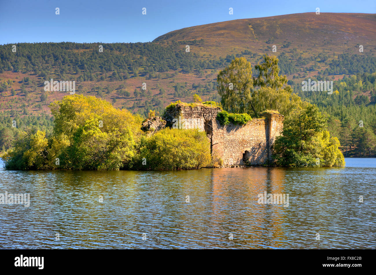 Castle ruin ( Wolf of Badenoch)  on Loch an Eilein, Rothiemurchus, Cairngorms, Scottish Highlands. - Stock Image