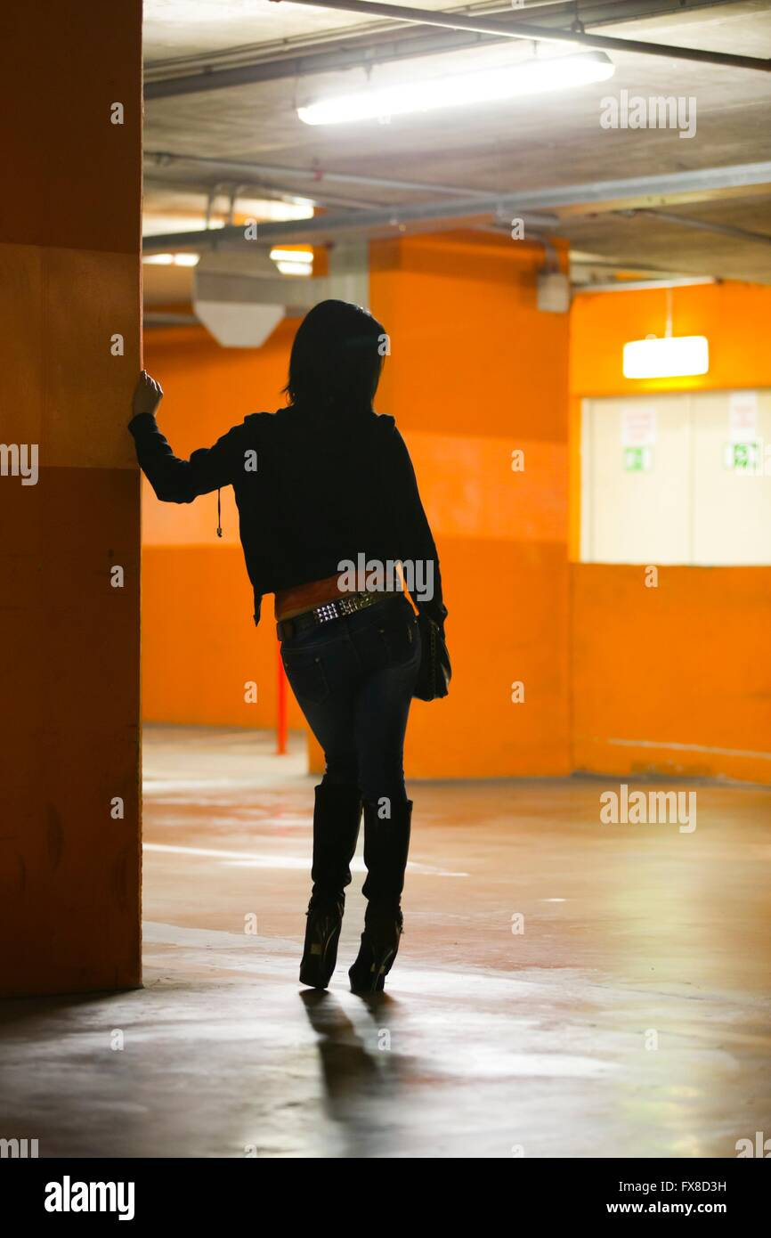 Woman underground rearview attractive beautiful single stand standing Stock Photo