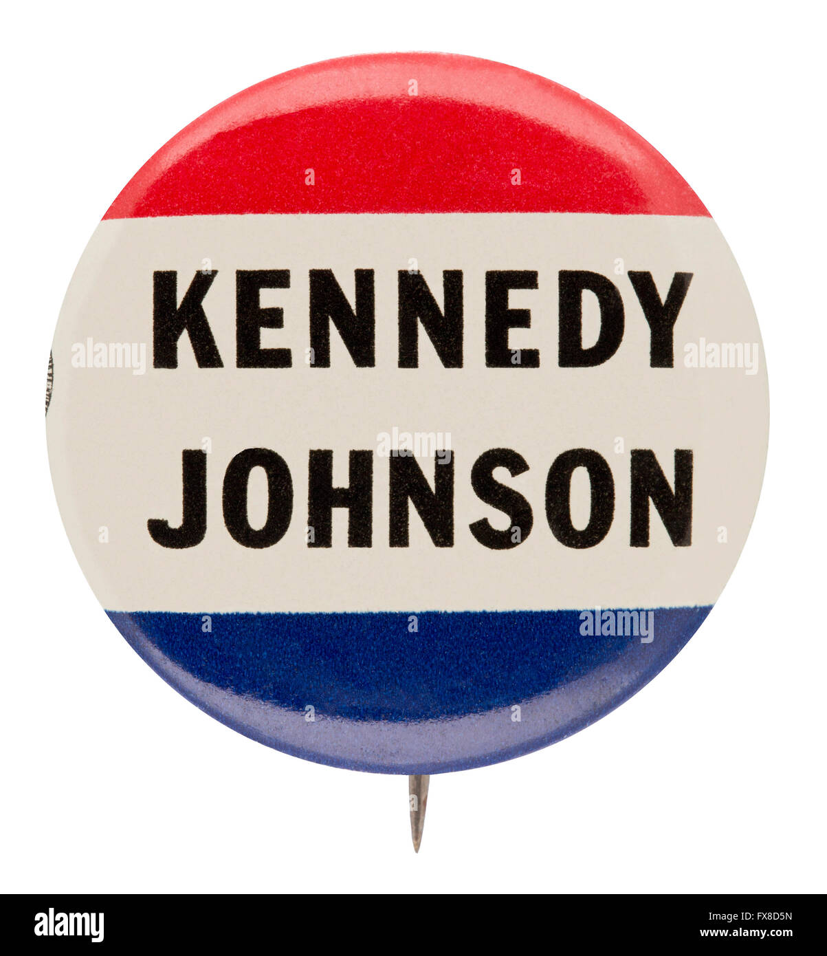1960 Presidential Campaign Button for Democrats John F. Kennedy and Lyndon B. Johnson - Stock Image