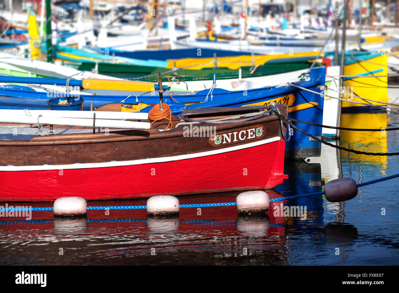 Nice Harbour - Fishing boats in the harbour - Cote D Azure - France - Stock Image