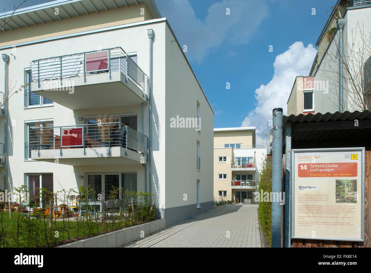 Köln, Nippes, autofreie Siedlung Stellwerk 60 das 'Eisenbahn-Quartier' - Stock Image