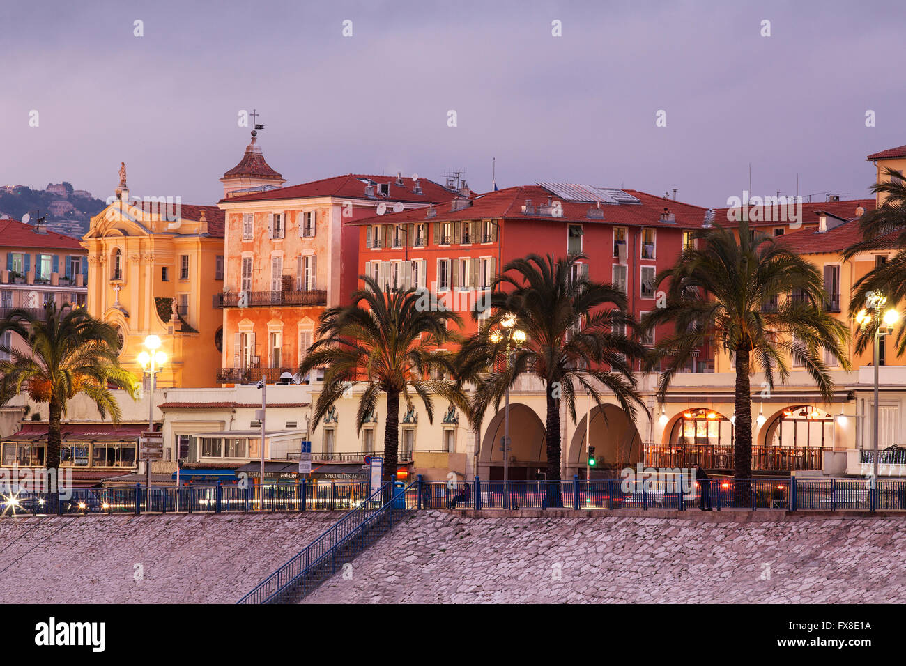 Nice Promenade des Anglais in the evening - Cote d'Azur, Provence, France - Stock Image