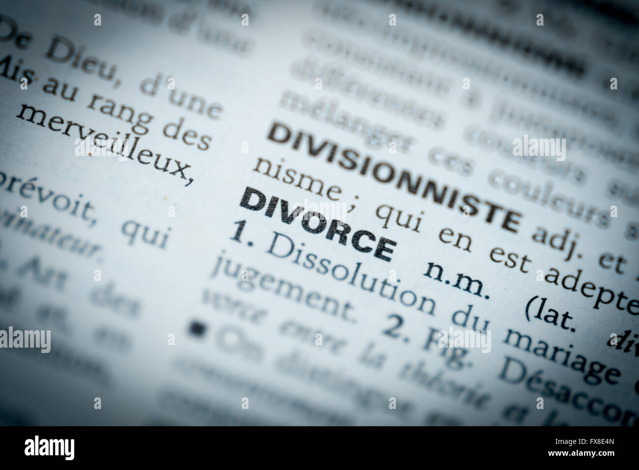 Divorce word  on dictionary - Stock Image
