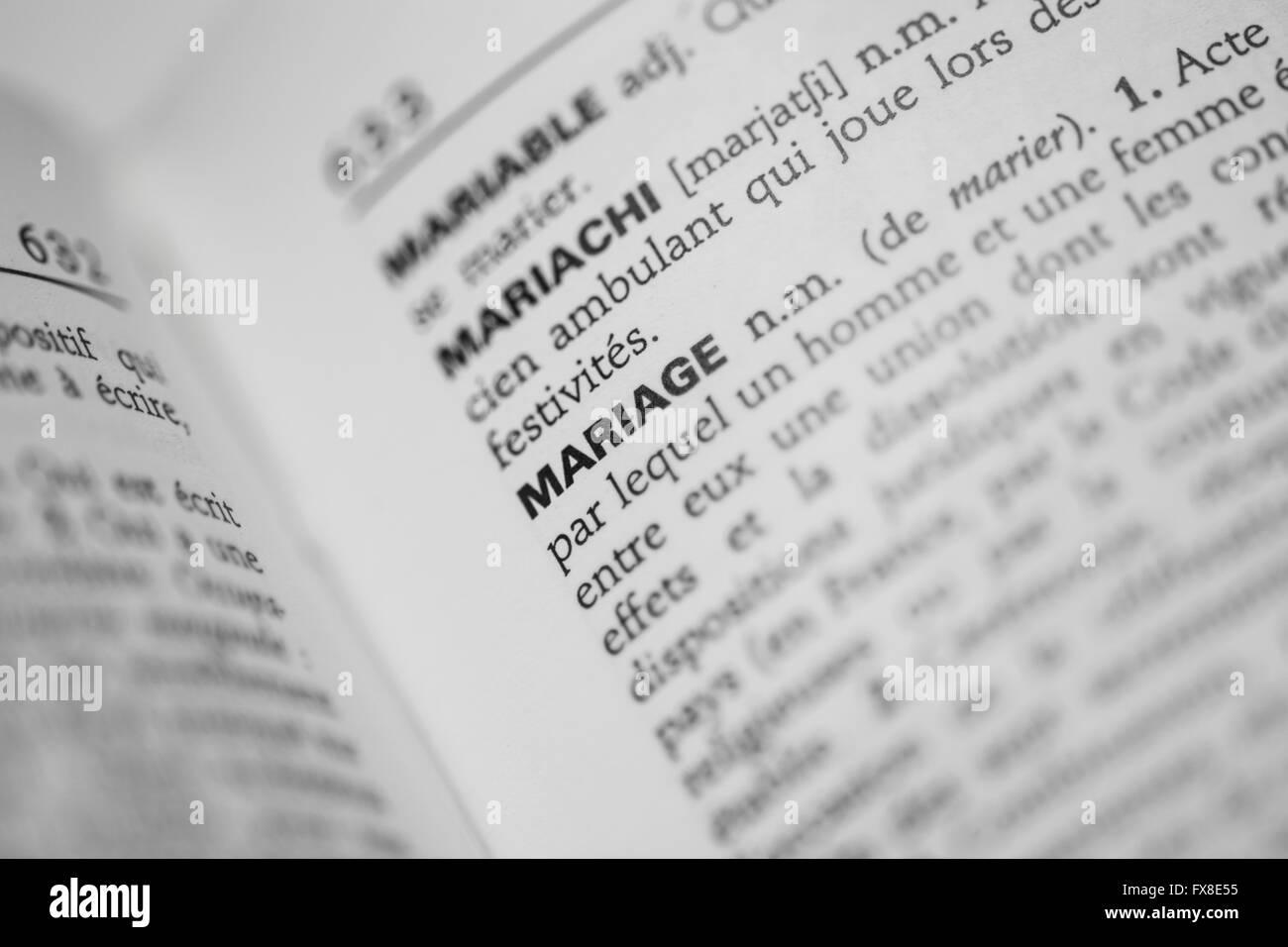 Mot mariage dans un dictionnaire - Stock Image
