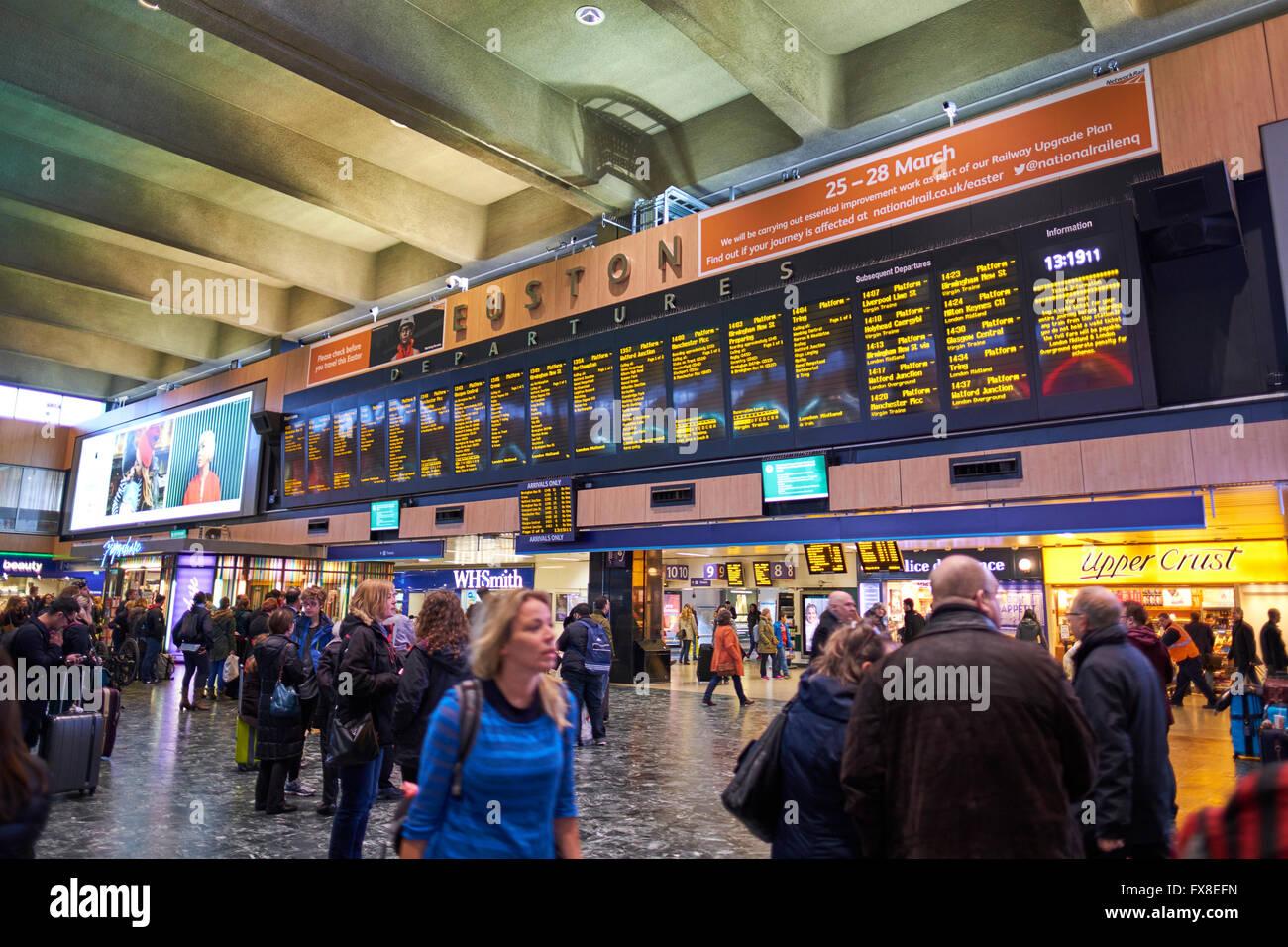 Electronic Departure Board Euston Train Station London Uk