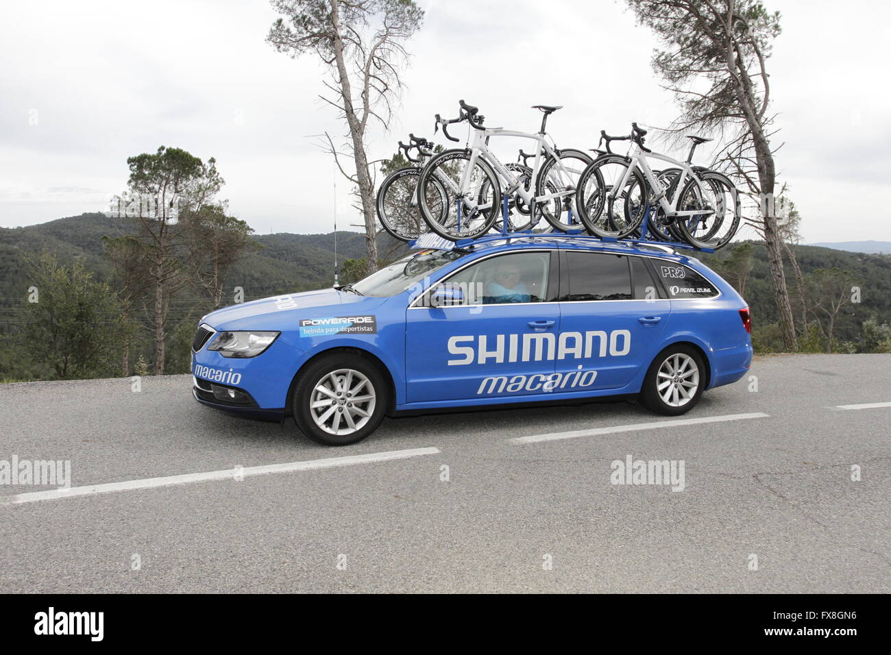 Team Shimano Macarlo support car in the Tour of Catalonia 2016 near Girona, Spain - Stock Image