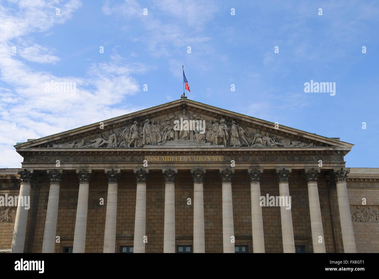 France. Paris. Facade of National Assembly (Bourbon palace), 1806-08 by Bernard Poyet. - Stock Image
