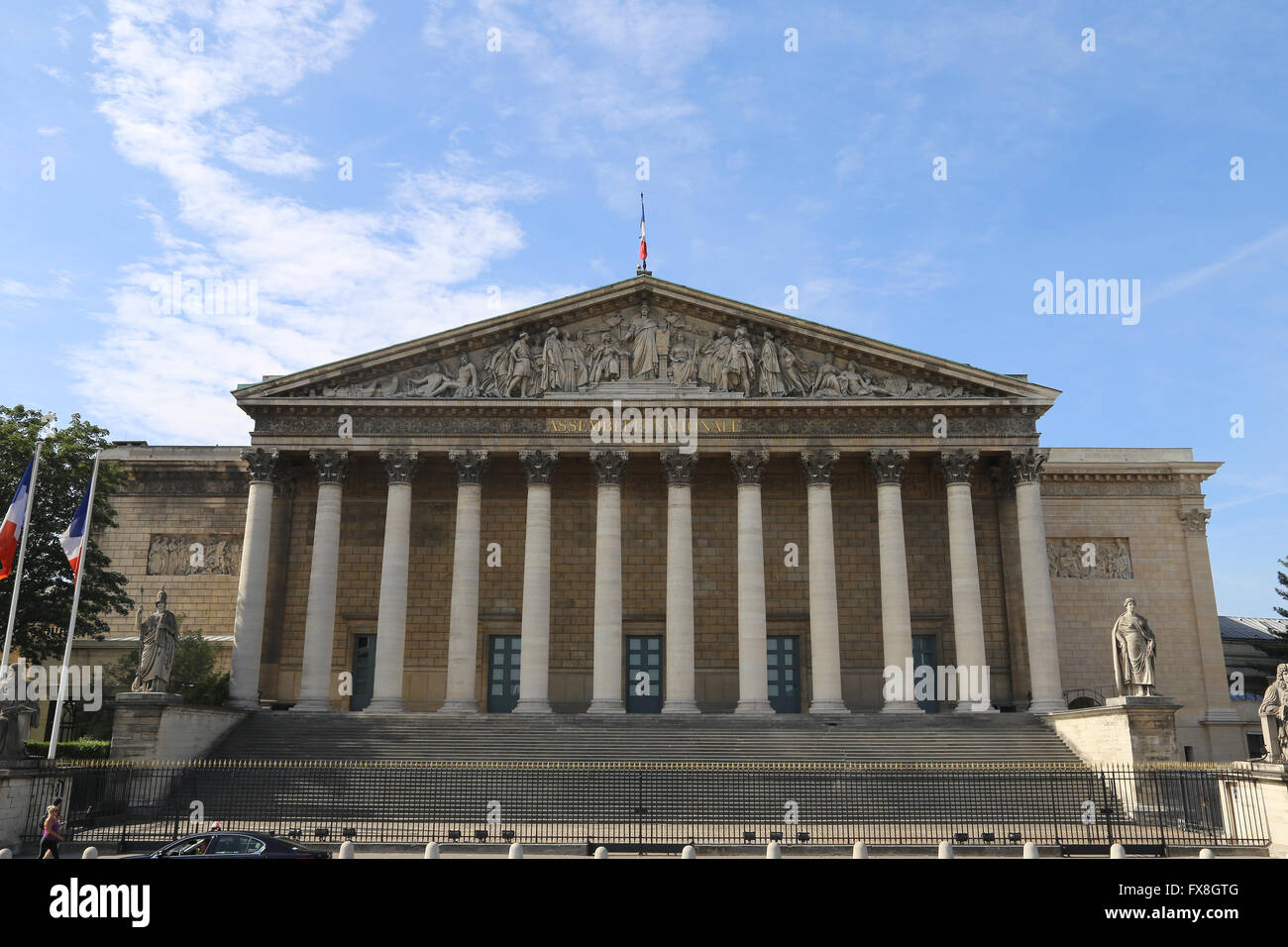 France. Paris. Facade of National Assembly (Bourbon palace), 1806-08 by Bernard Poyet. - Stock Image