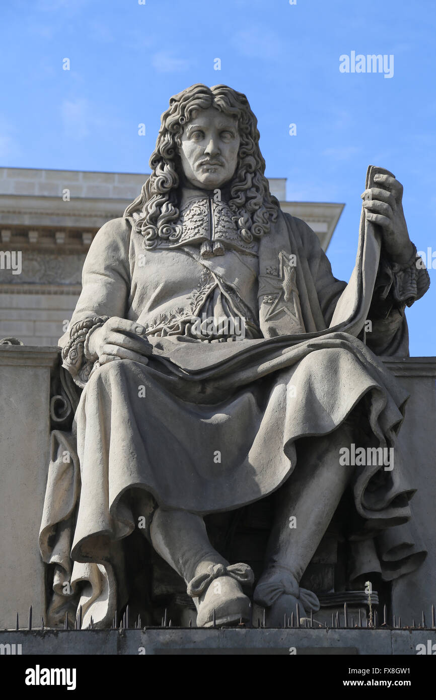 Jean-Baptiste Colbert (1619-1683). French politician. Minister of Finances. Statue by Jacques-Edme Dumont (1761 - Stock Image