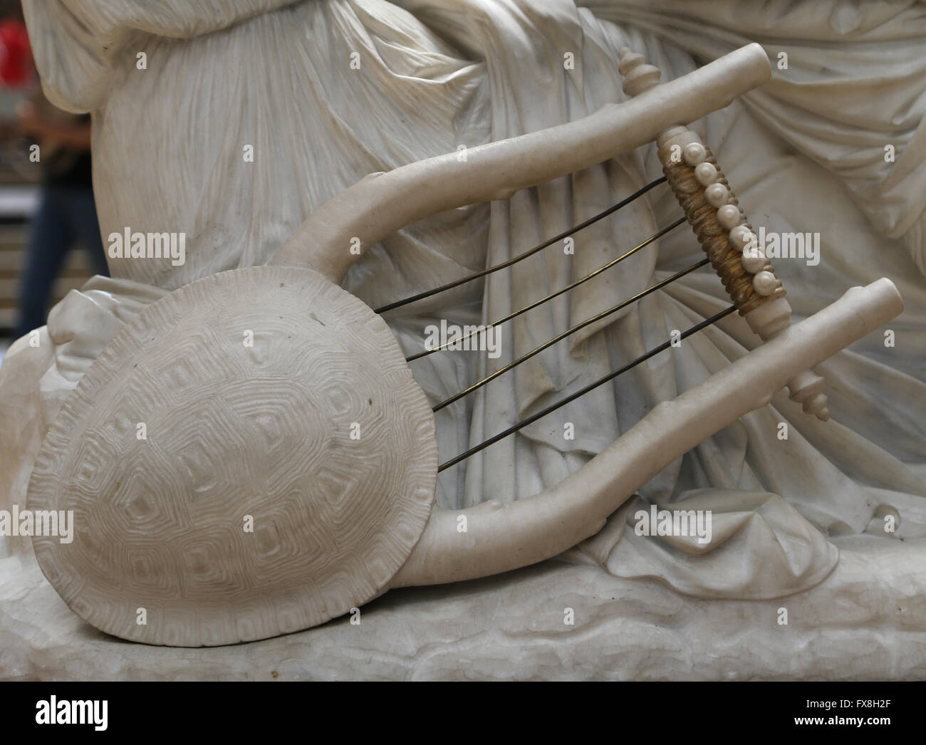 Poetess Sappho, 1852. Marble statue by James Pradier (1790-1852). Detail of lyre. Orsay Museum. Paris. France. - Stock Image