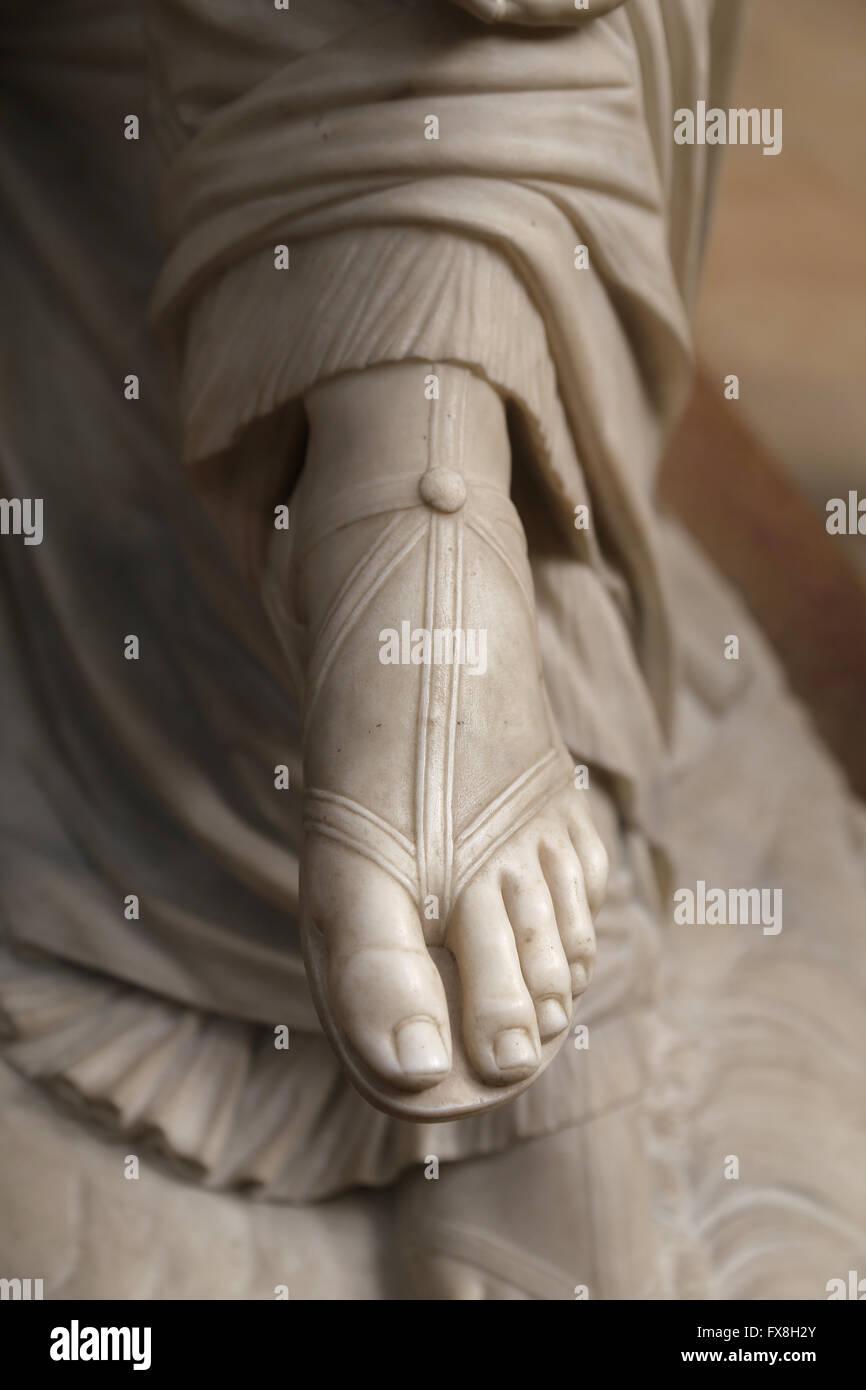 Poetess Sappho, 1852. Marble statue by James Pradier (1790-1852). Detail of sandal. Orsay Museum. Paris. France. - Stock Image