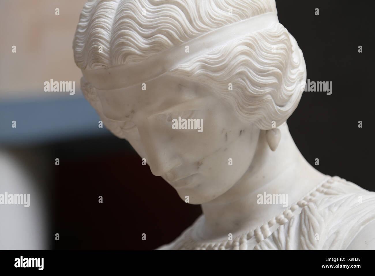 Poetess Sappho, 1852. Marble statue by James Pradier (1790-1852). Orsay Museum. Paris. France. Stock Photo