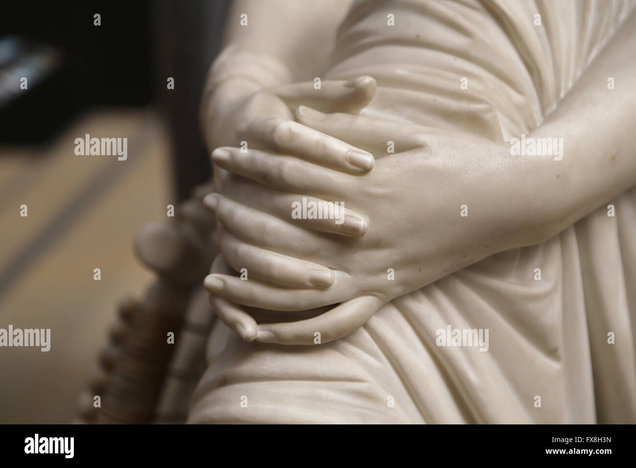 Poetess Sappho, 1852. Marble statue by James Pradier (1790-1852). Detail hands. Orsay Museum. Paris. France. - Stock Image