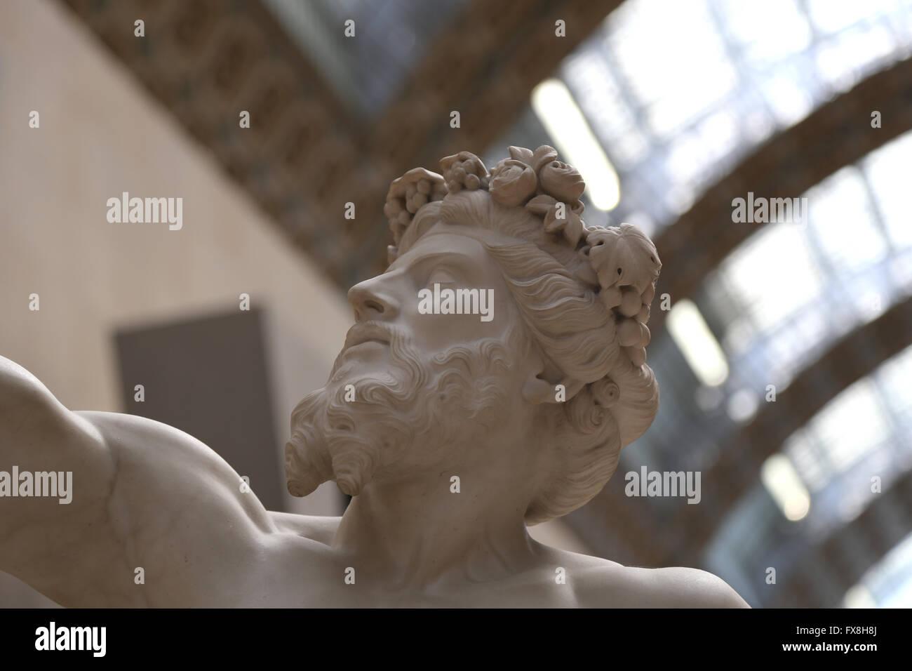 Anacreon (582-485). Greek lyric poet. Statue, 1851 by Eugene Guillaume (1822-1905). Orsay Museum. Paris. France. - Stock Image
