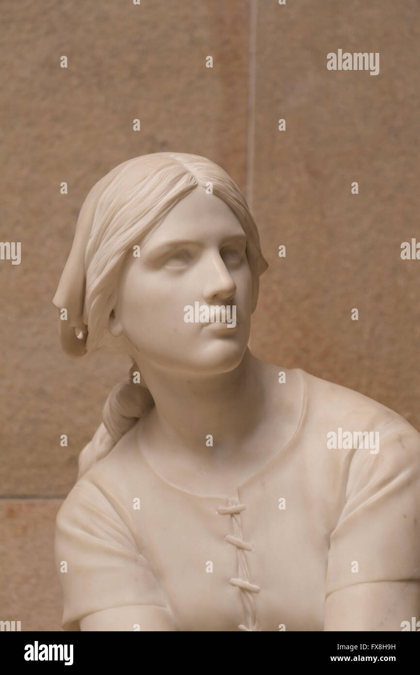 Joan of Arc at Domremy, 1870-72. Marble. By Henri Chapu (1833-1891). Orsay Museum. Paris. France. - Stock Image