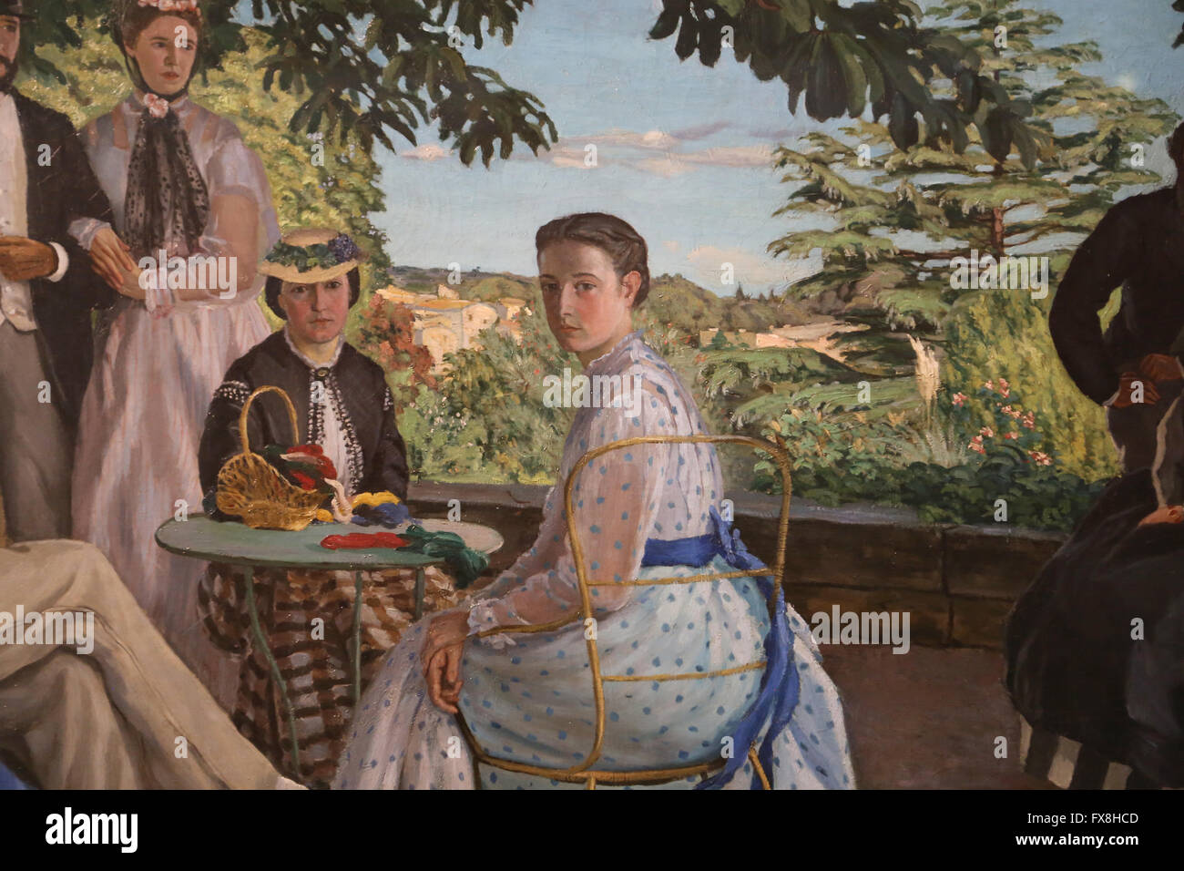 Frederic Bazille (1841-1870). Family reunions also called Family portraits, 1867. Oil on canvas. - Stock Image