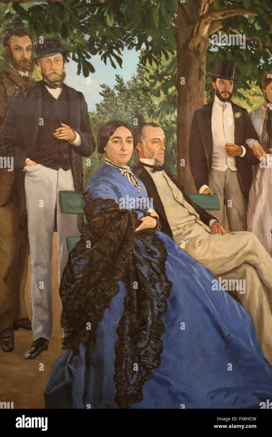 Family reunions also called Family portraits, 1867. Oil on canvas. By Frederic Bazille. Orsay Museum. - Stock Image