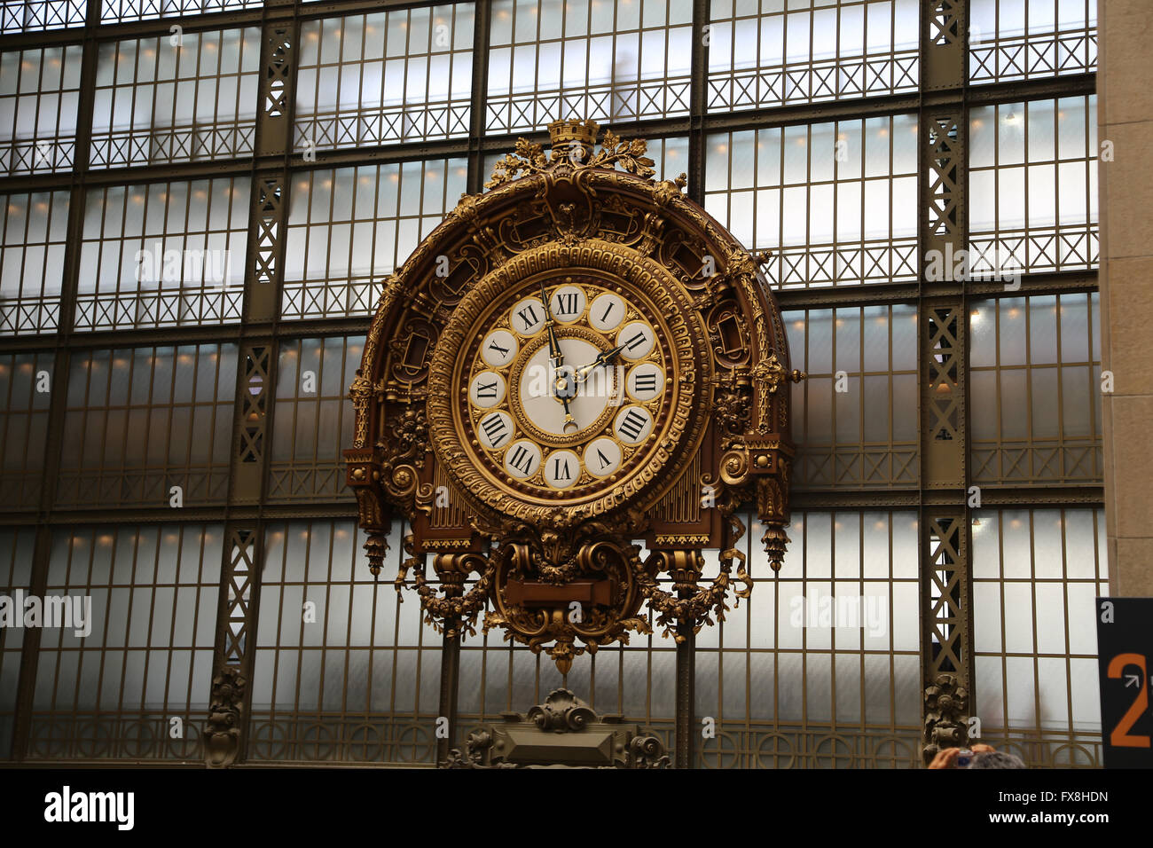 Station clock inside the Orsay Museum. Paris. France. - Stock Image