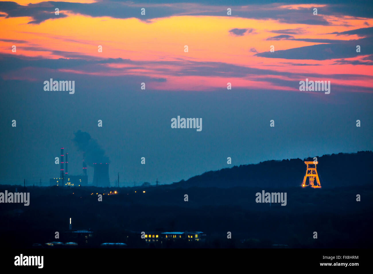 Headframe of the mine Prosper Haniel in Bottrop, Germany, Ruhr area last coal mine, colliery, will be closed in - Stock Image