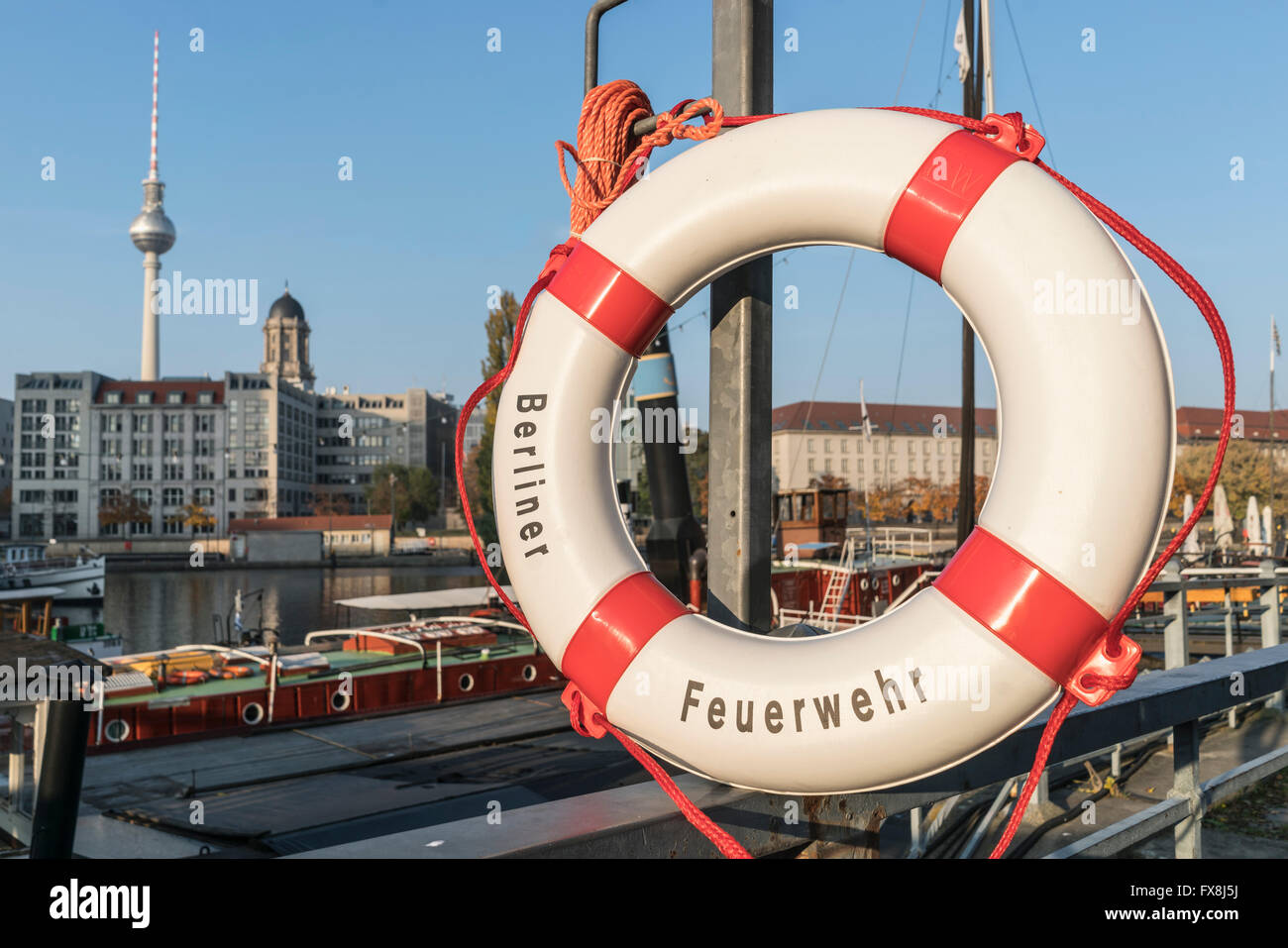 Historic port, Maerkisches Ufer, museum ships,  harbour , old barge Helene, Berlin Mitte , Germany - Stock Image