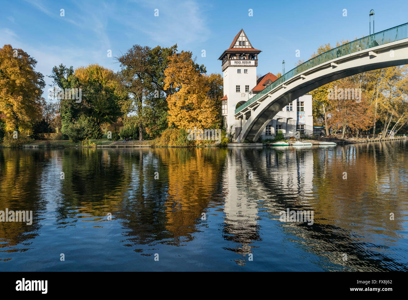 Island of Youth, autumn,  Insel der Jugend,  Treptow, Spree, Berlin - Stock Image