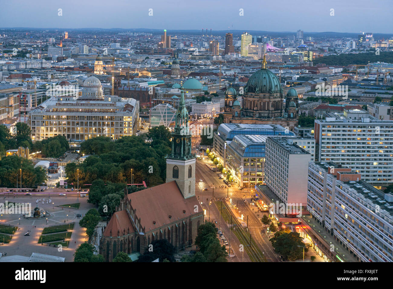 Panoramic view from Panorama Bar, Berlin Cathedral, Construction of Berlin Palace, - Stock Image