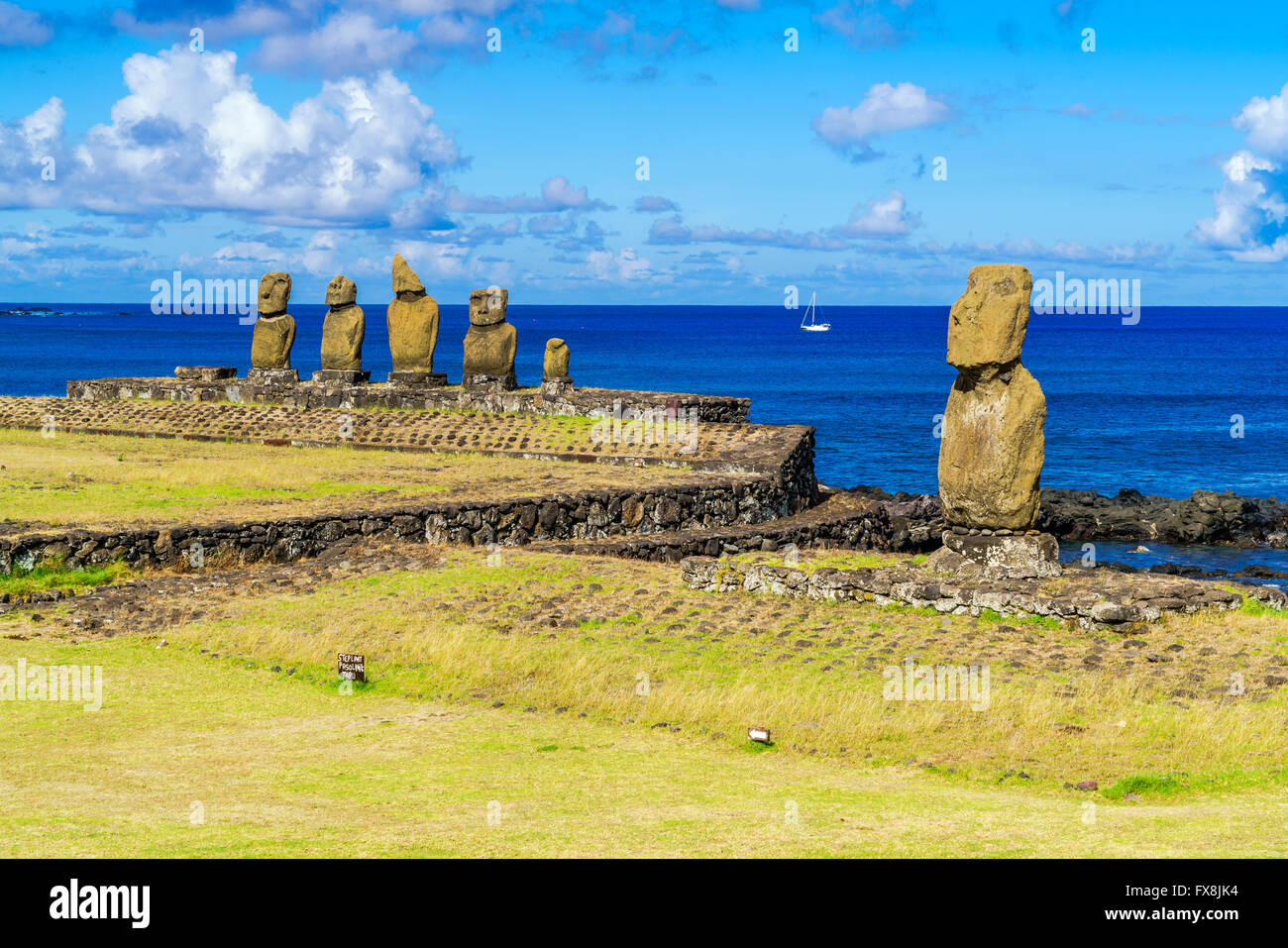 Ahu Tahai, Ahu Vai Uri and Pacific Ocean at Tahat Archaeological Complex, Easter Island, Chile - Stock Image