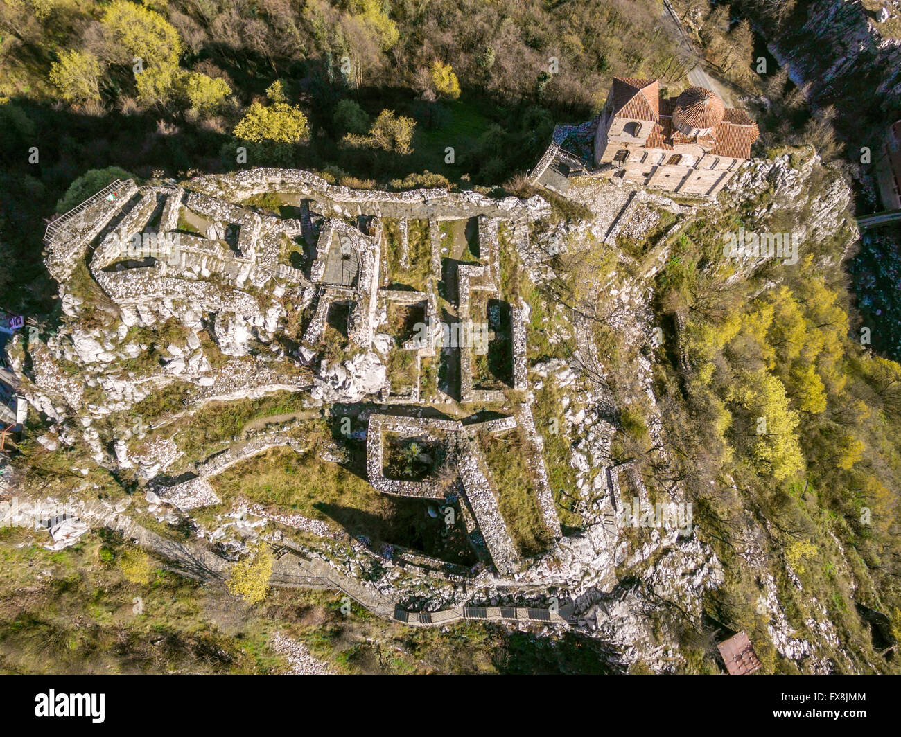 Areal veiw of the Asen's fortress and the Virgin Mary church near Asenovgrad city in Bulgaria. Stock Photo